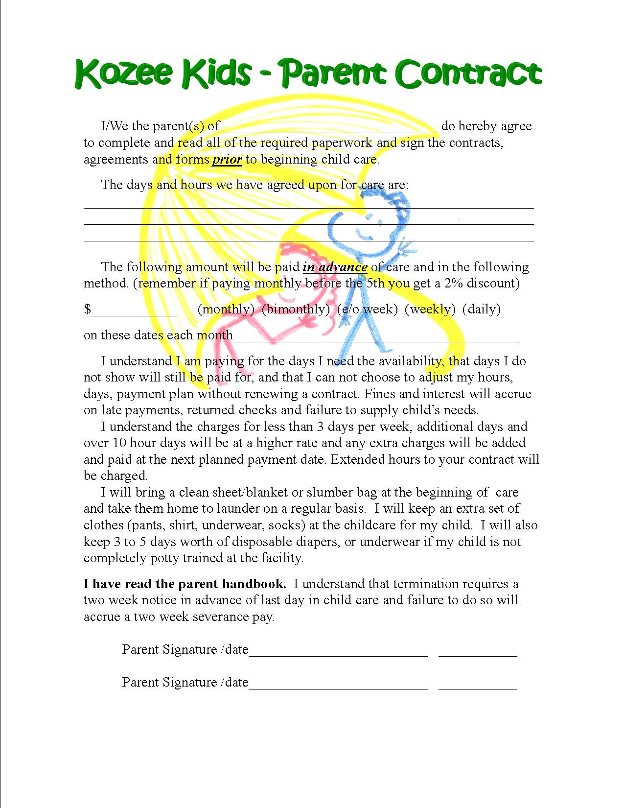 daycare contract forms